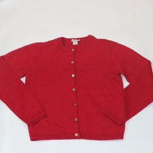 J.Crew Red Button Down Wool Red Sweater